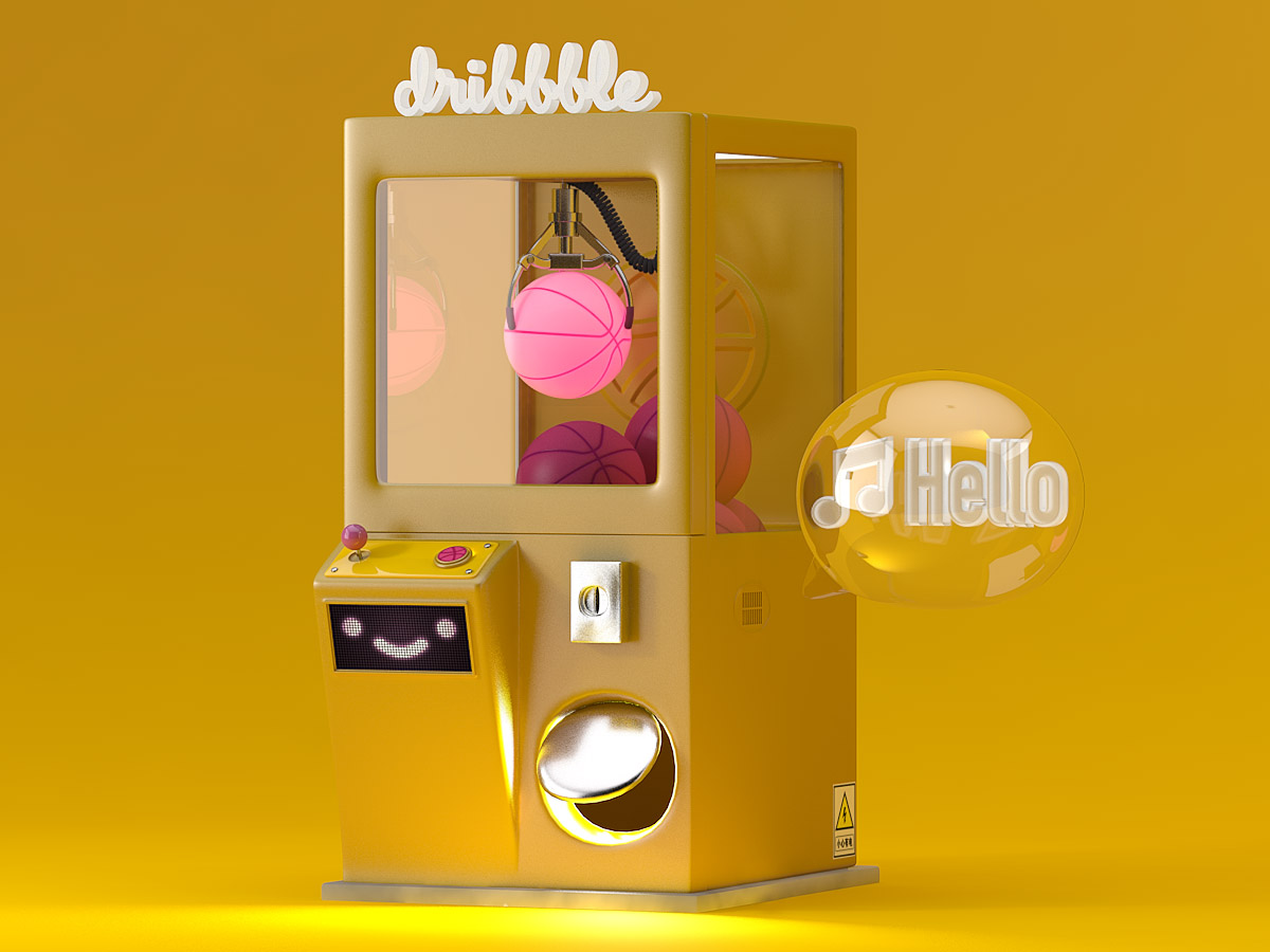 A yellow claw machine with several Dribbble pink basketballs in it