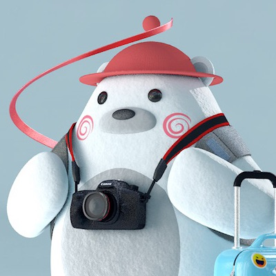 Nori Polar Bear traveling with a luggage and backpack