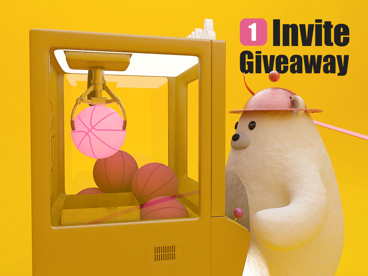A white bear operating a claw machine to pick up a pink Dribbble basketball