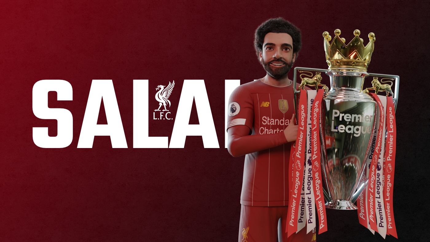 Salah holding the EPL Trophy